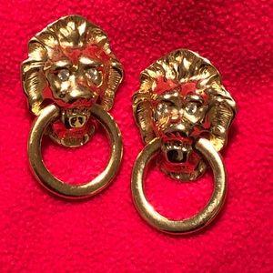 Kenneth Jay Lane Doorknocker earrings pierced.